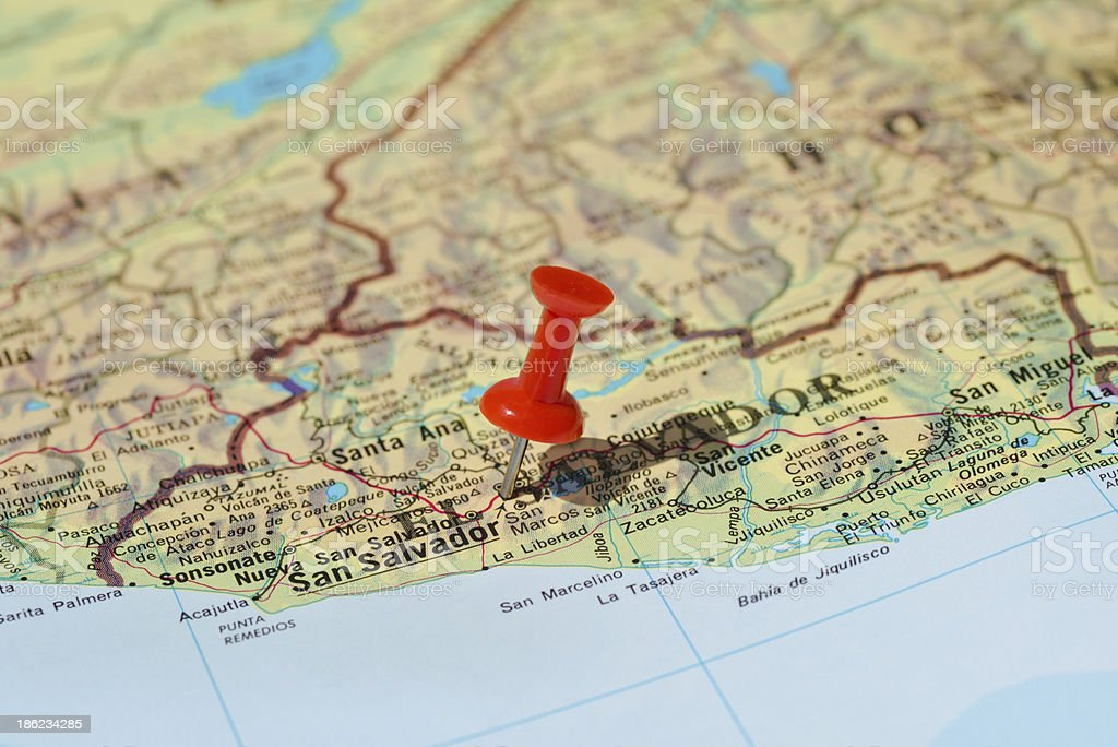 San Salvador Marked on Map with Red Pushpin stock photo