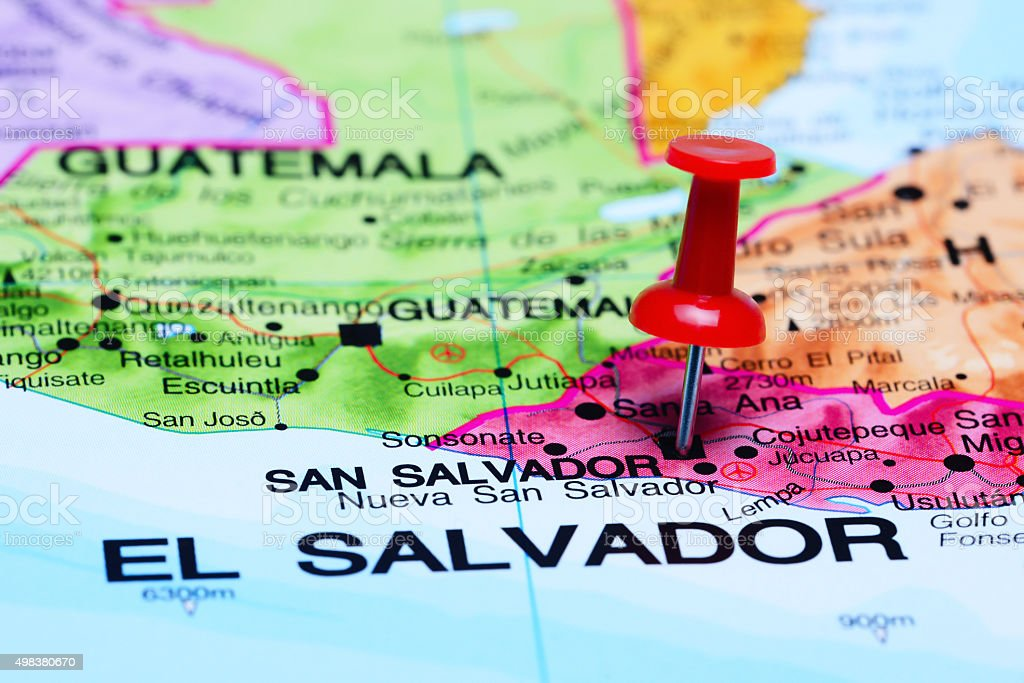 San Salvador pinned on a map of America stock photo