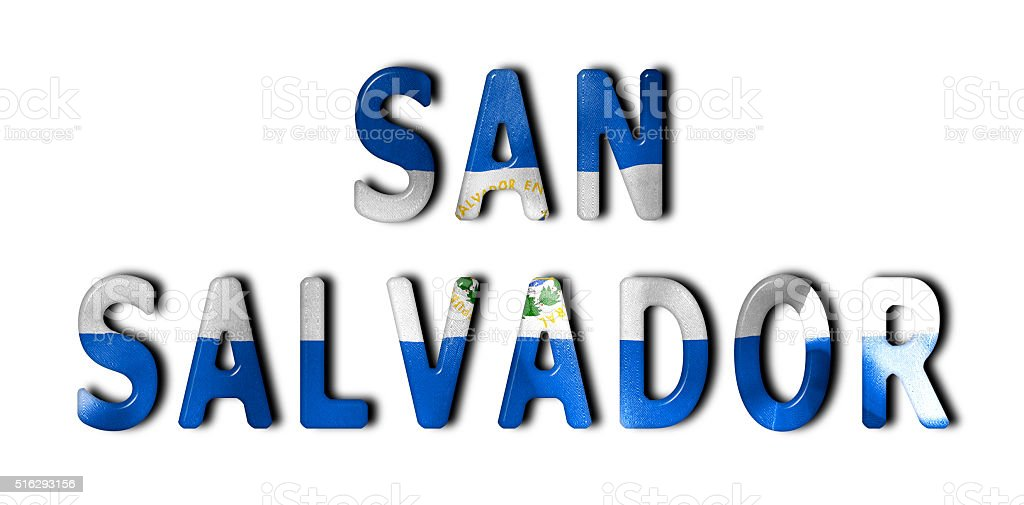 San Salvador Word With Flag Texture stock photo