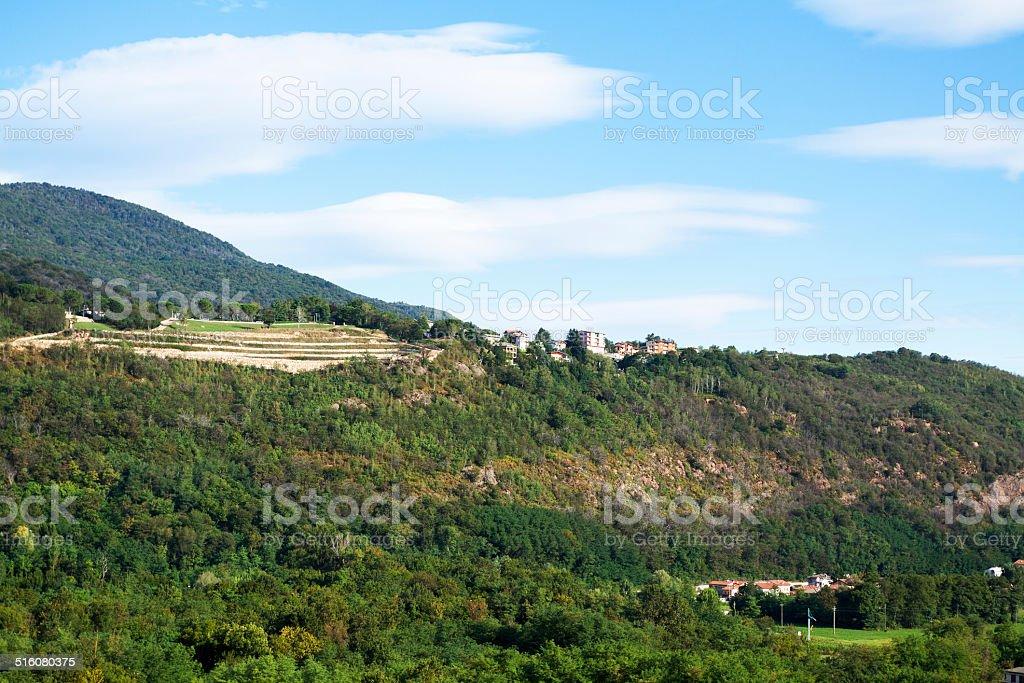 San Salvatore and stone pit above Lake Lugano stock photo