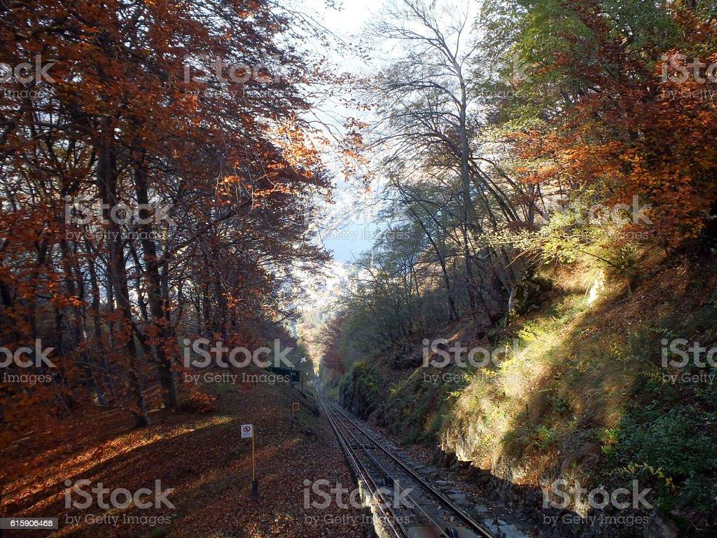 San Salvatore funicular line stock photo
