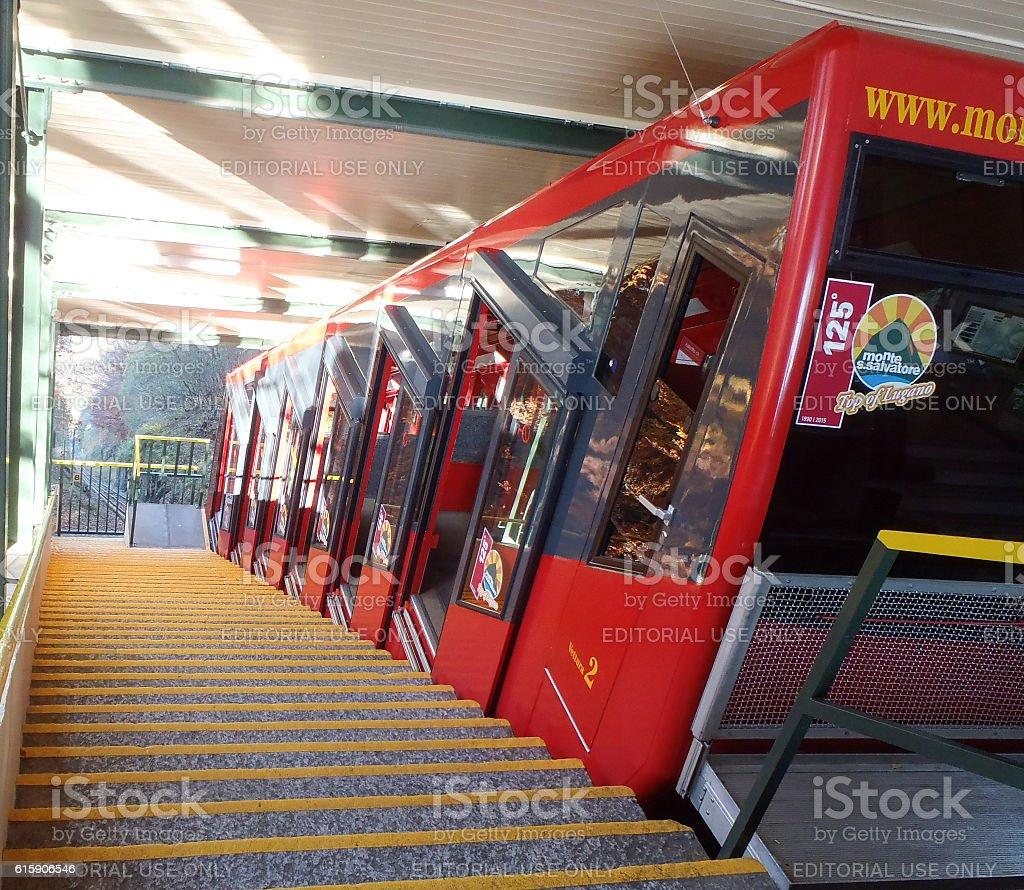 San Salvatore funicular train stock photo