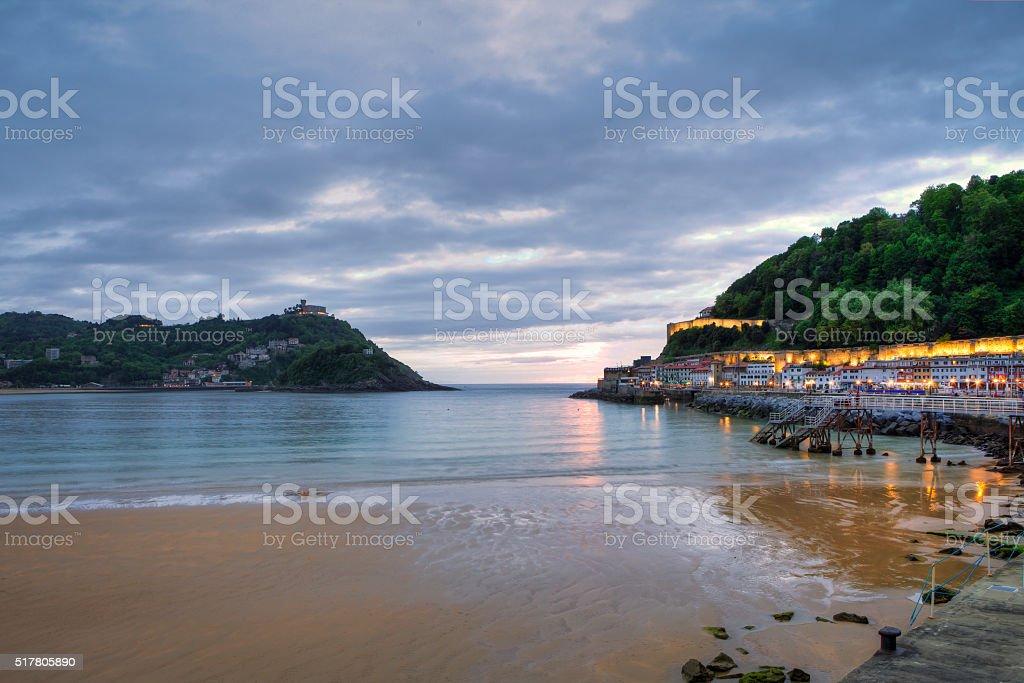 San Sebastian bay and old Fishing Port stock photo