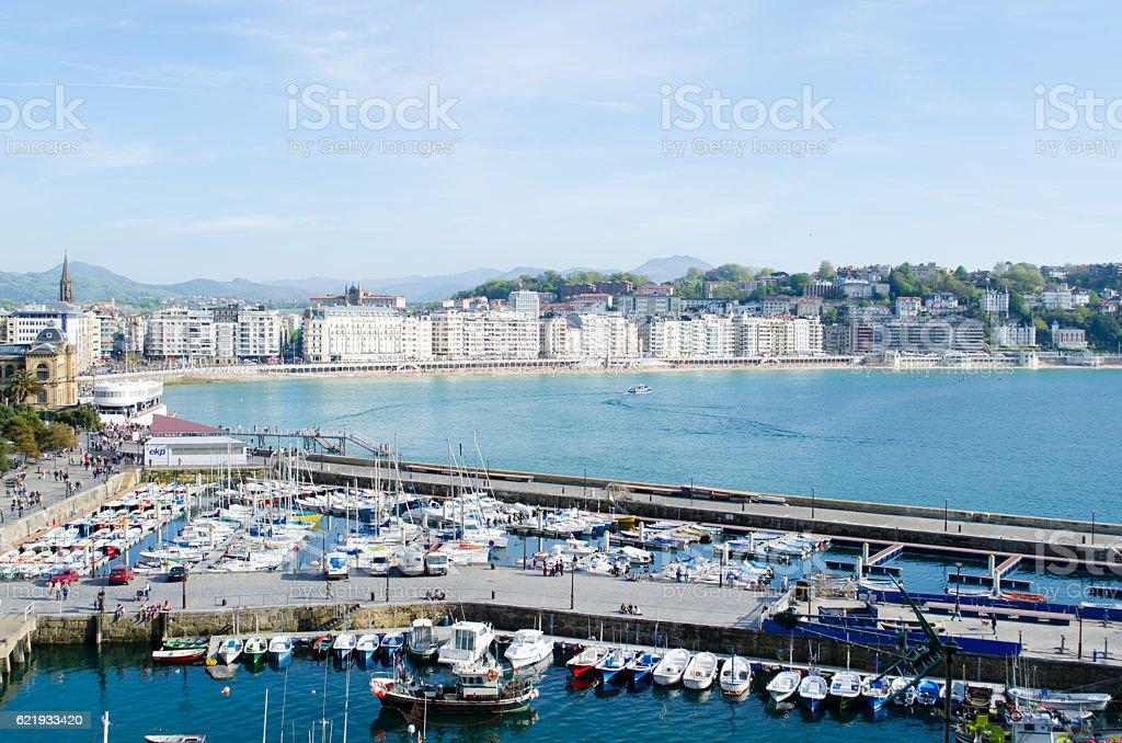 San Sebastian port and bay stock photo
