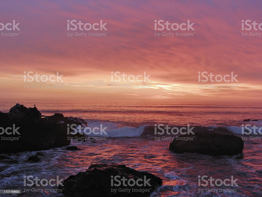San Simeon coast at sunset royalty-free stock photo