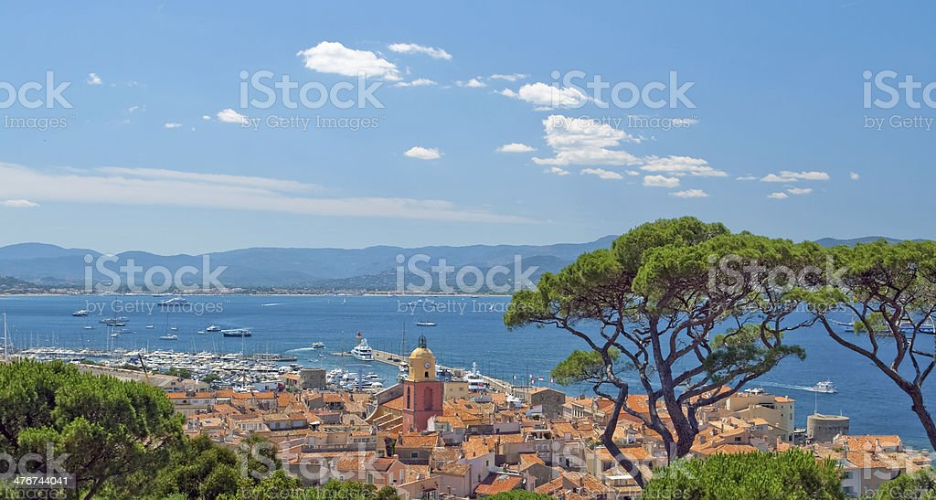San Tropez with top view, France royalty-free stock photo