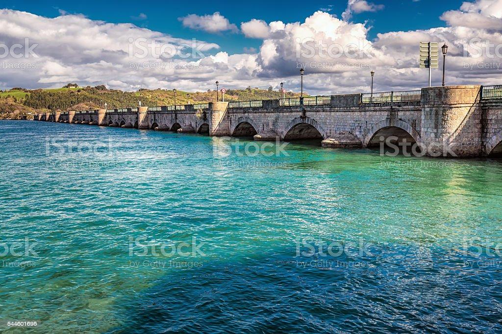 San Vicente de la Barquera bridge stock photo