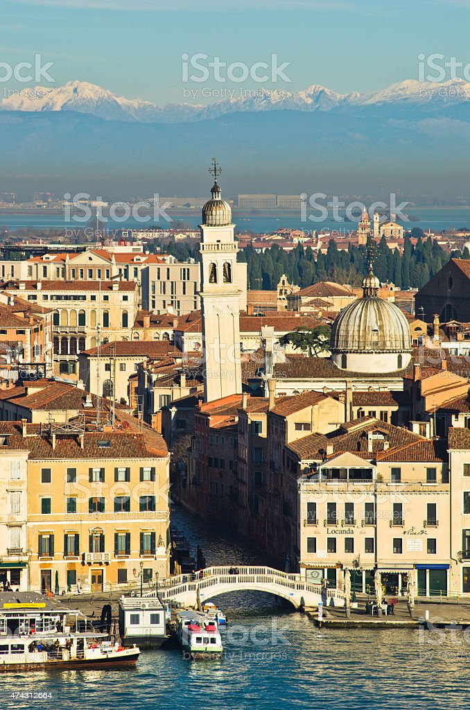 San Zaccaria bridge and bell tower in Venice stock photo