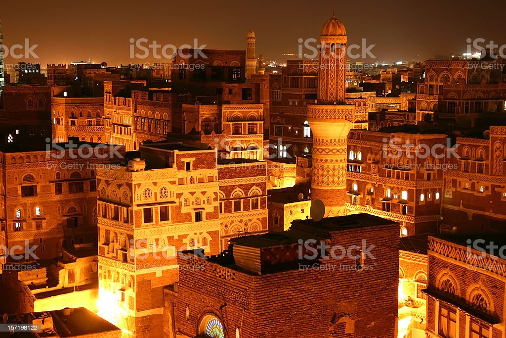 Sana'a by night stock photo