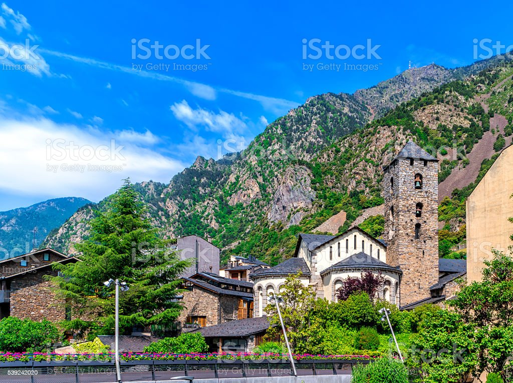 Sanat Esteve church in Andorra la Vella, Andorra. stock photo