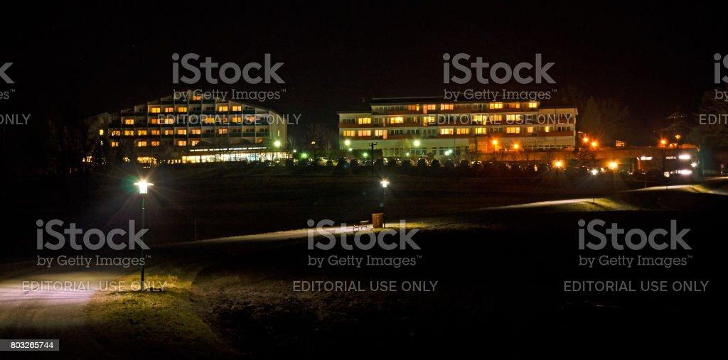 sanatorium at night stock photo