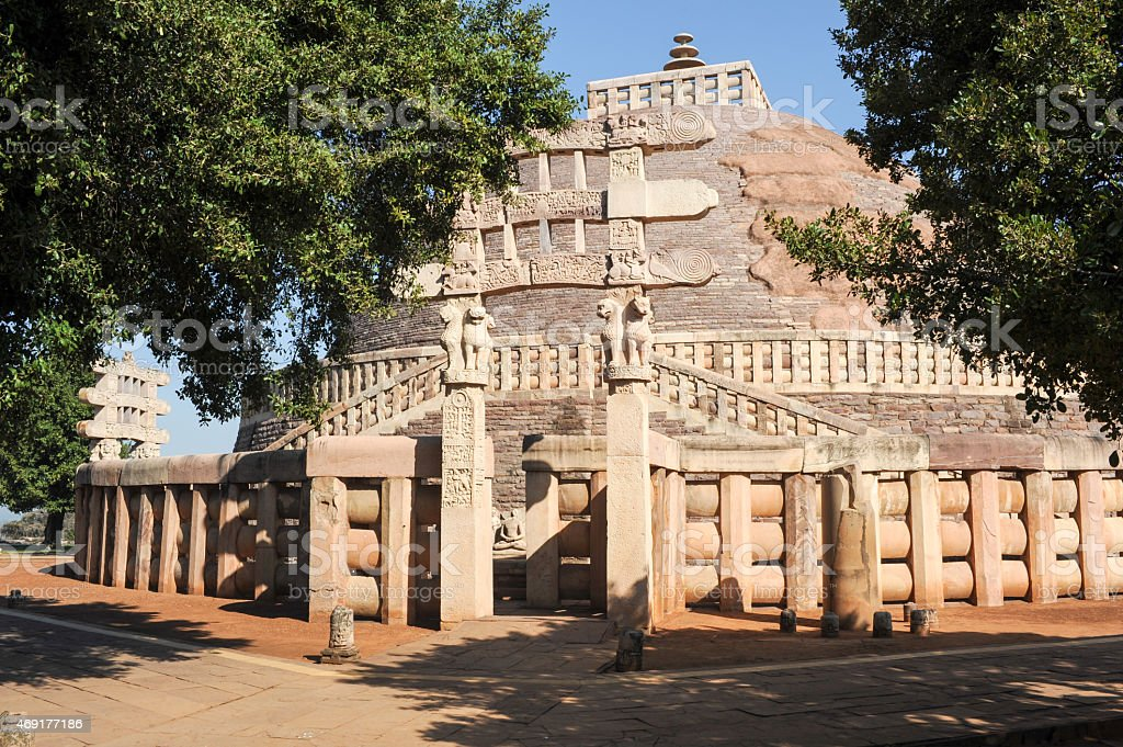 Sanchi Stupa is located at Sanchi Town in India stock photo