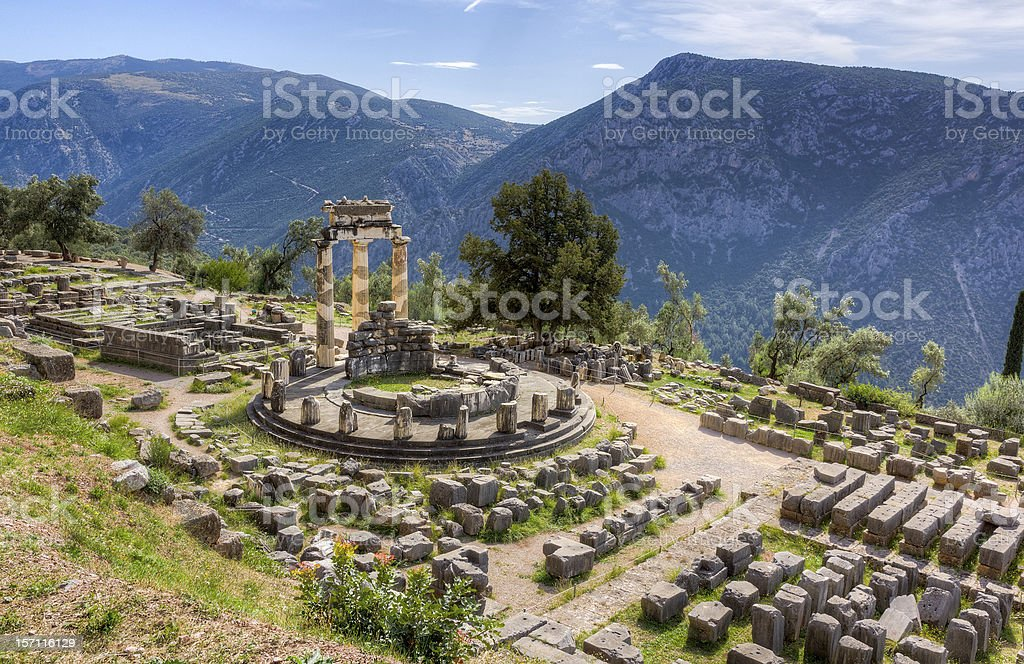 Sanctuary of Athena Pronaia, Delphi, Greece stock photo