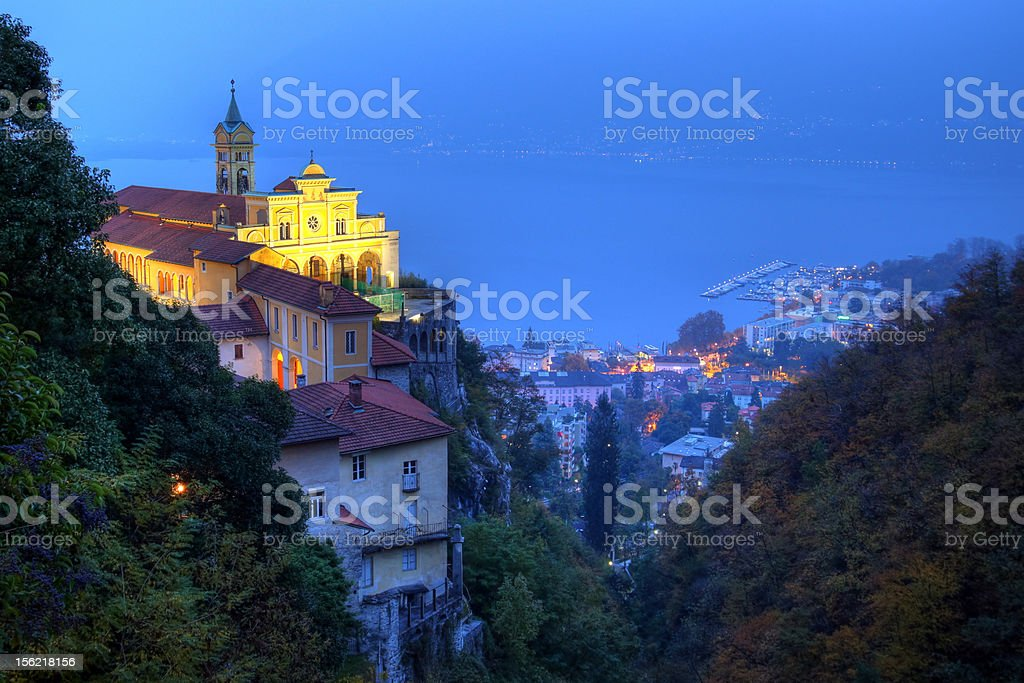 Sanctuary of Madonna del Sasso above Locarno, Switzerland stock photo