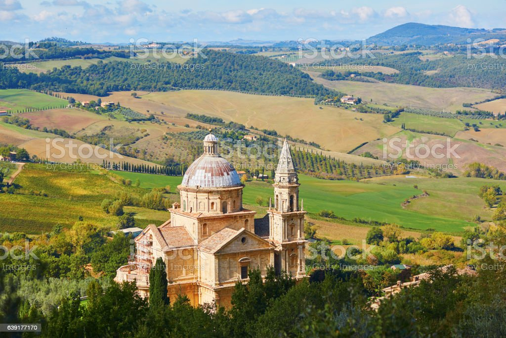 Sanctuary of San Biagio church in Montepulciano, Italy stock photo