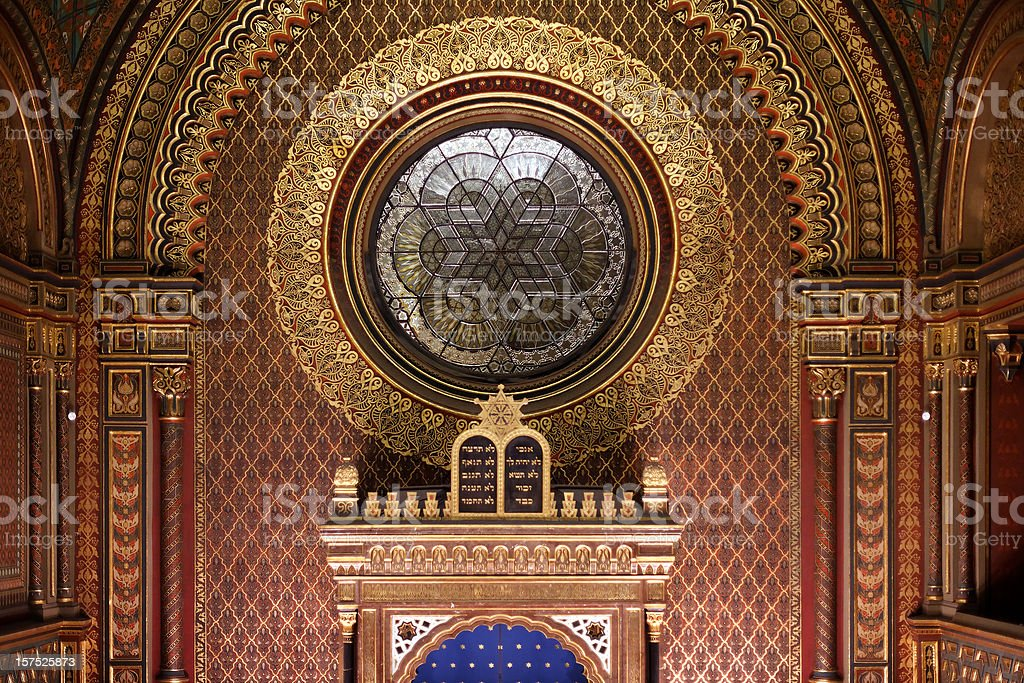 Sanctuary of the Spanish Synagogue, Prague stock photo