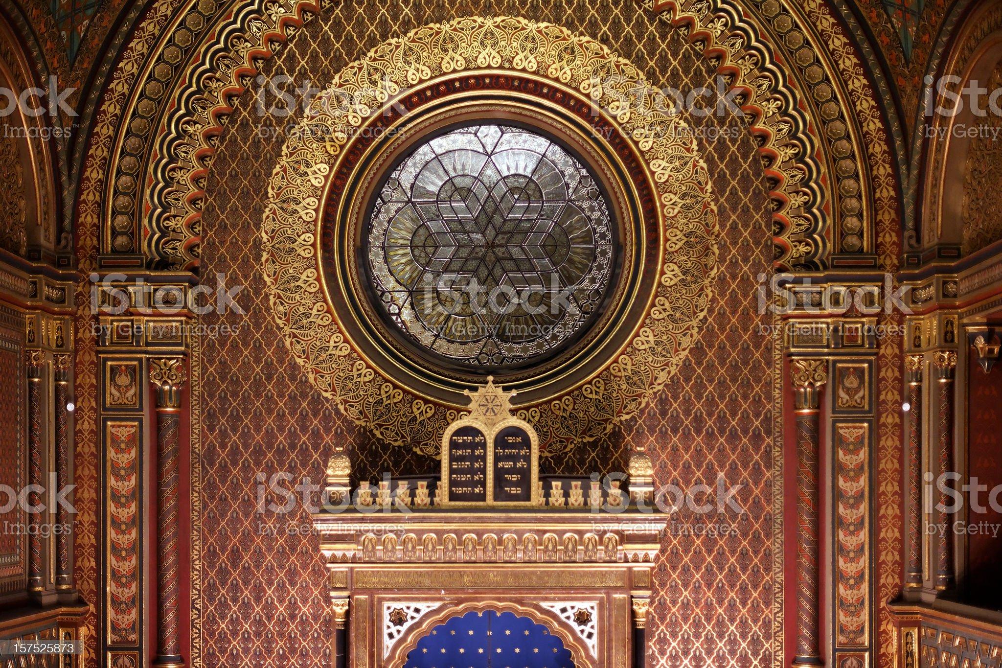 Sanctuary of the Spanish Synagogue, Prague royalty-free stock photo