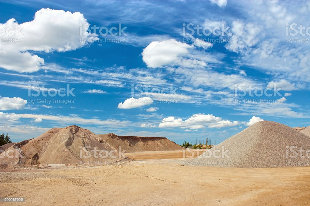 Sand and gravel quarry landscape royalty-free stock photo