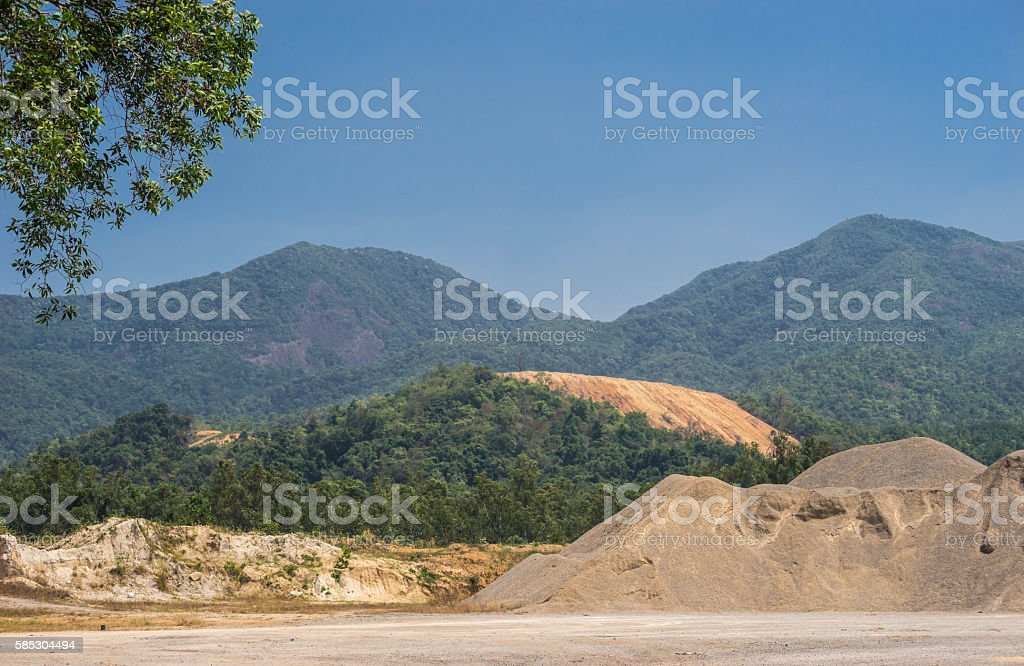 sand and land for constructiont stock photo
