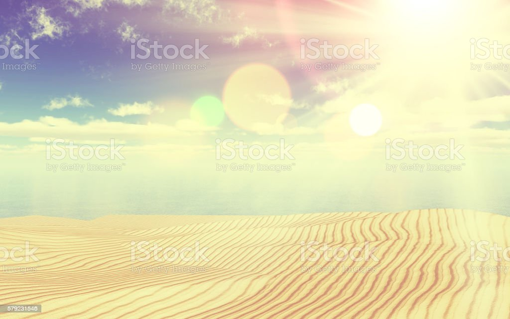 3D sand and ocean landscape with vintage effect stock photo