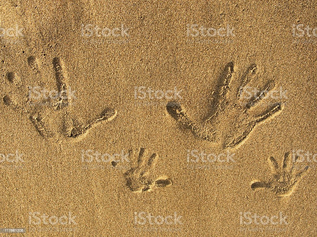 Sand and print stock photo