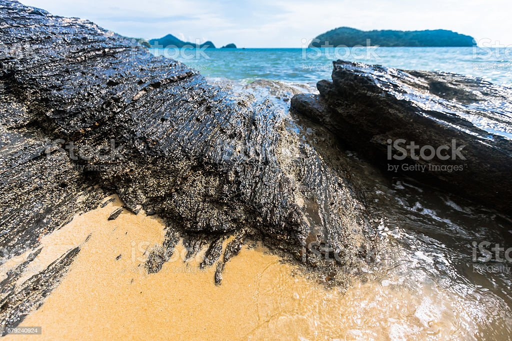 Sand and Rocks in Langkawi stock photo