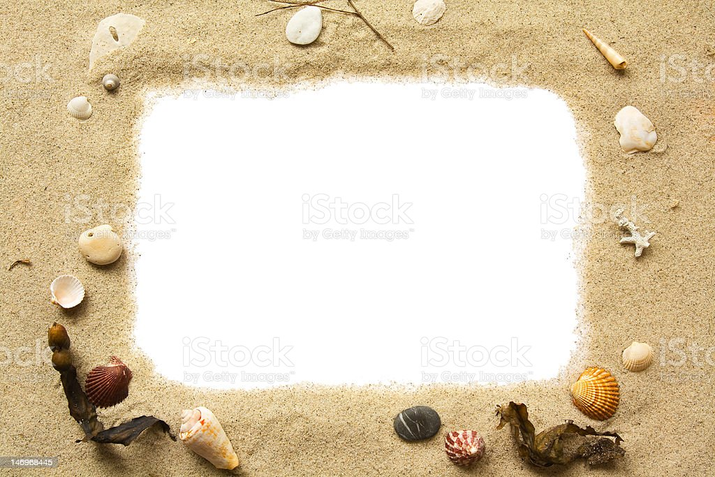 Sand and seashells frame royalty-free stock photo