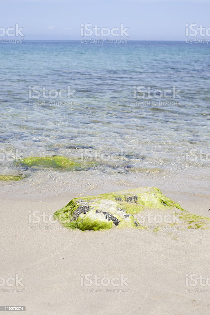 Sand and stone beach. royalty-free stock photo