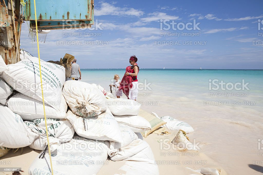 Sand bags at the coast of Dominican Republic royalty-free stock photo