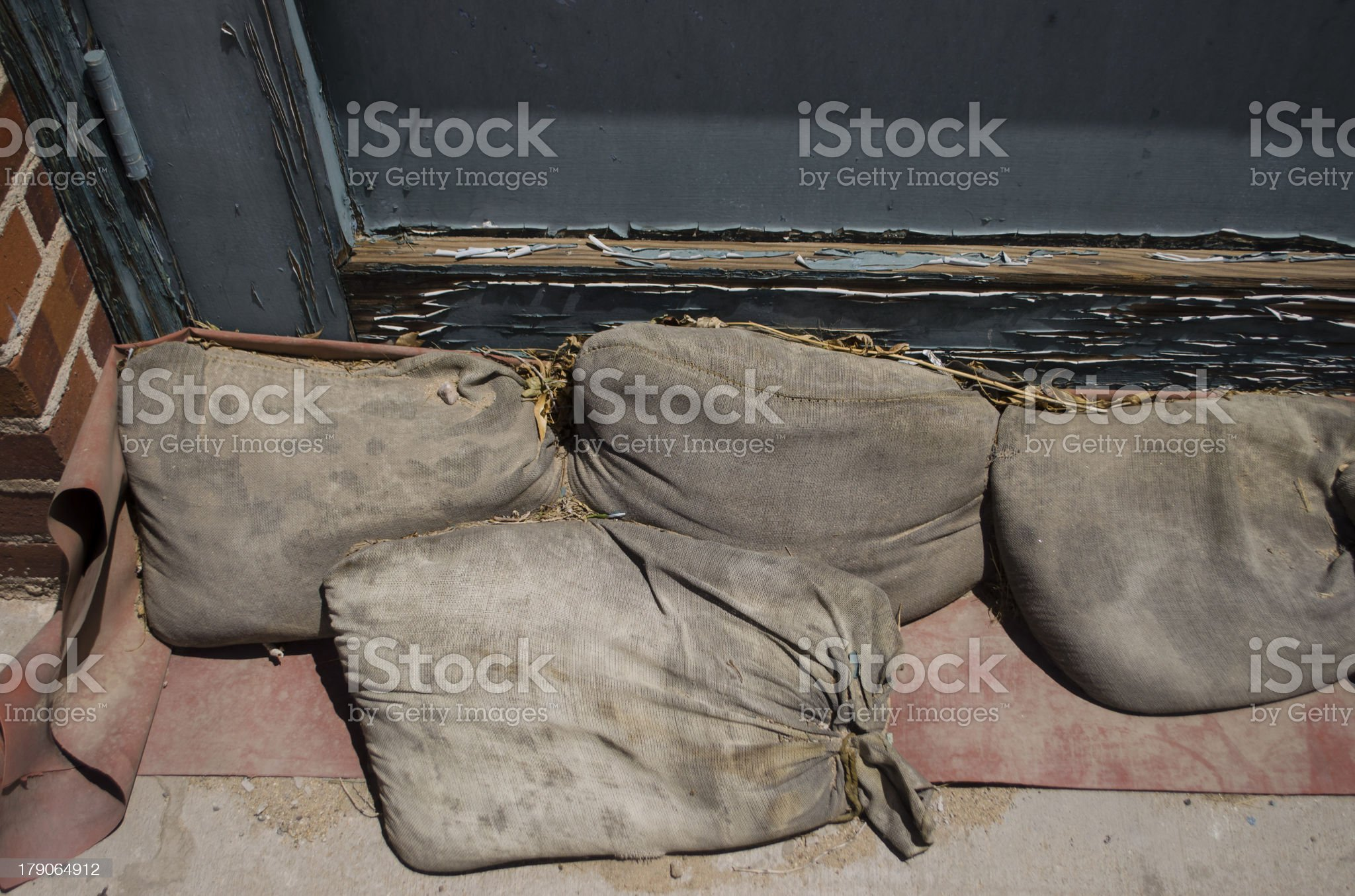 sand bags to prevent flooding royalty-free stock photo