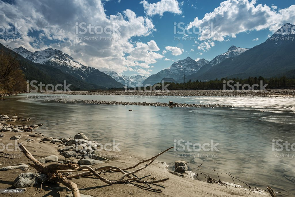 sand bank and stony river lech at tirol mountains stock photo