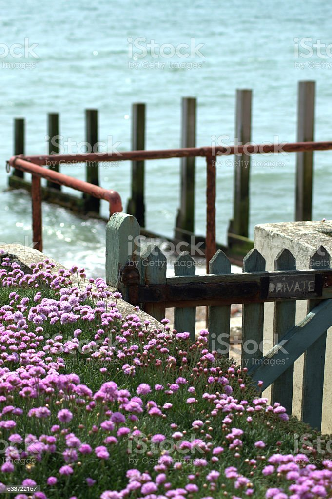 Sand Bank with Gate to the Sea stock photo