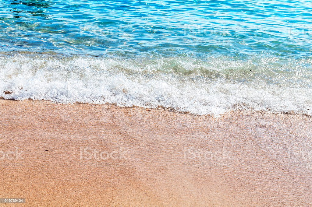 Sand beach and blue sky in Greece,Notoc beach, Thassos stock photo