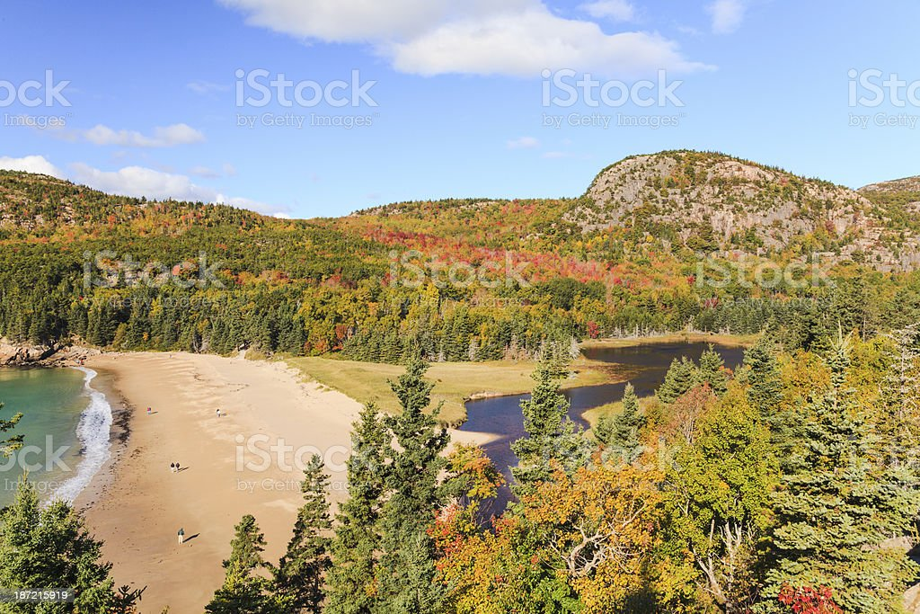 Sand Beach and The Beehive in Autumn, Acadia National Park royalty-free stock photo