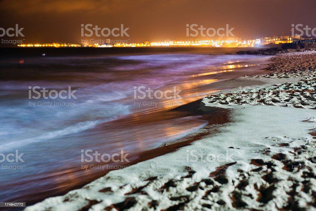 Sand beach at night royalty-free stock photo