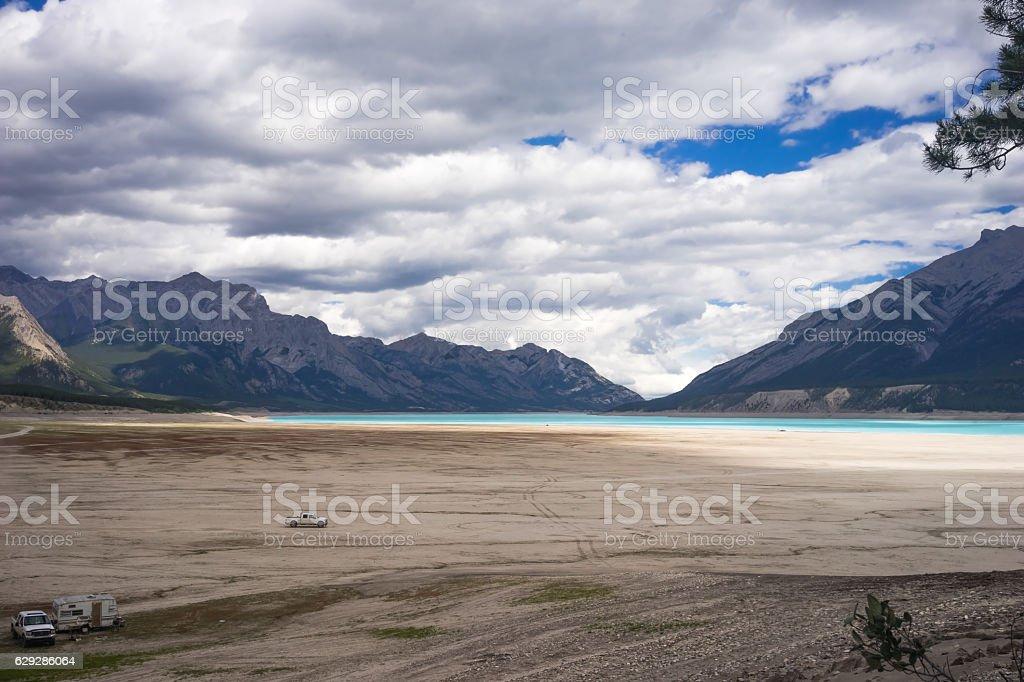 Sand beach of Abraham Lake stock photo