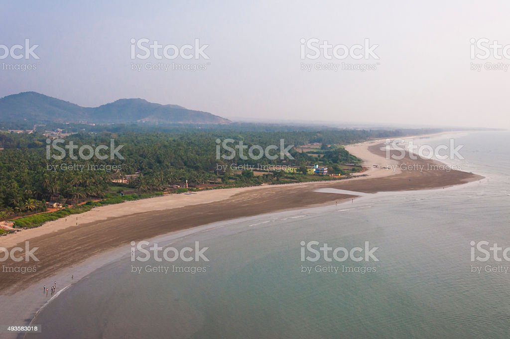 Sand beach on Arabian sea coastline in Murudeshwar Karnataka India stock photo