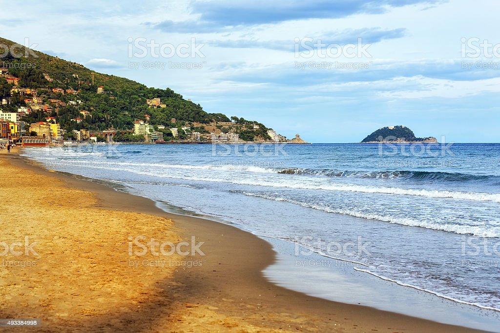 Sand beach on italian Riviera stock photo