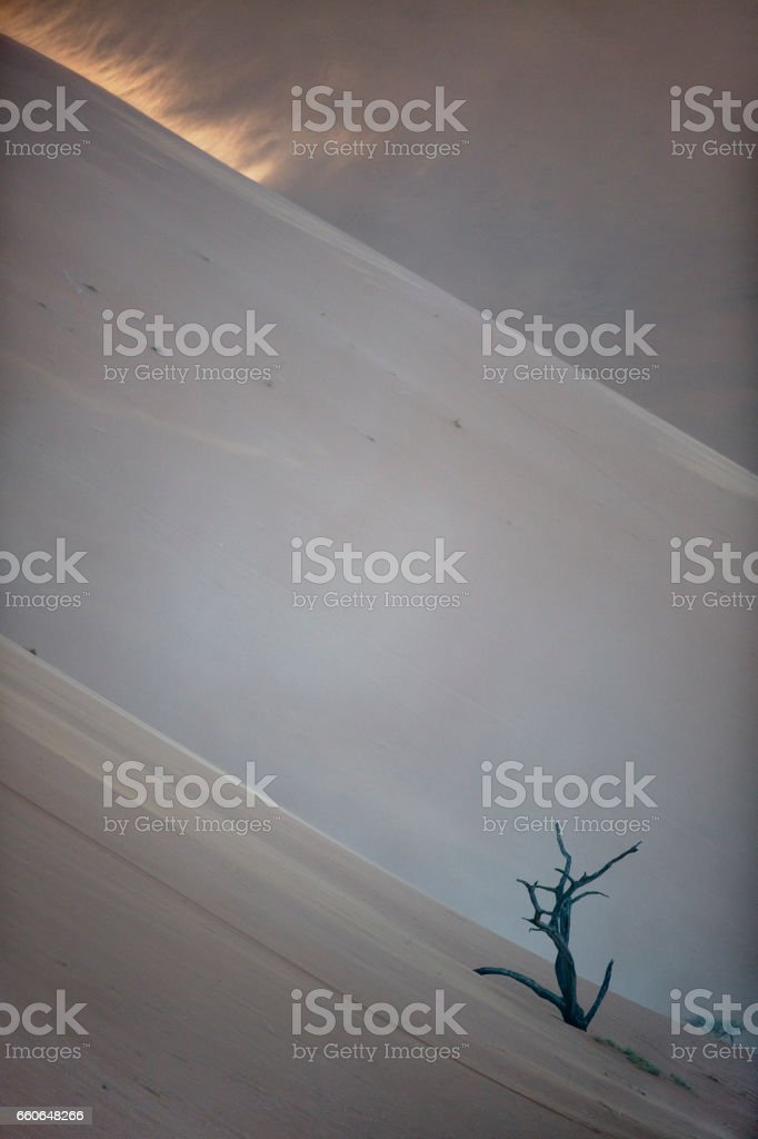 Sand blowing off a sand dune. stock photo