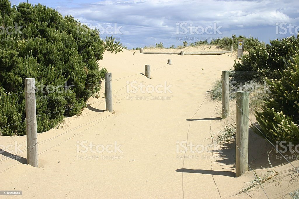 sand blown track to the beach royalty-free stock photo