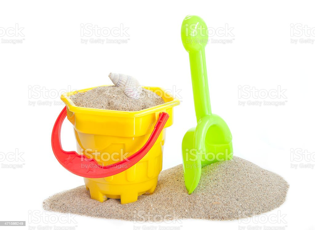 sand bucket and spade toy royalty-free stock photo