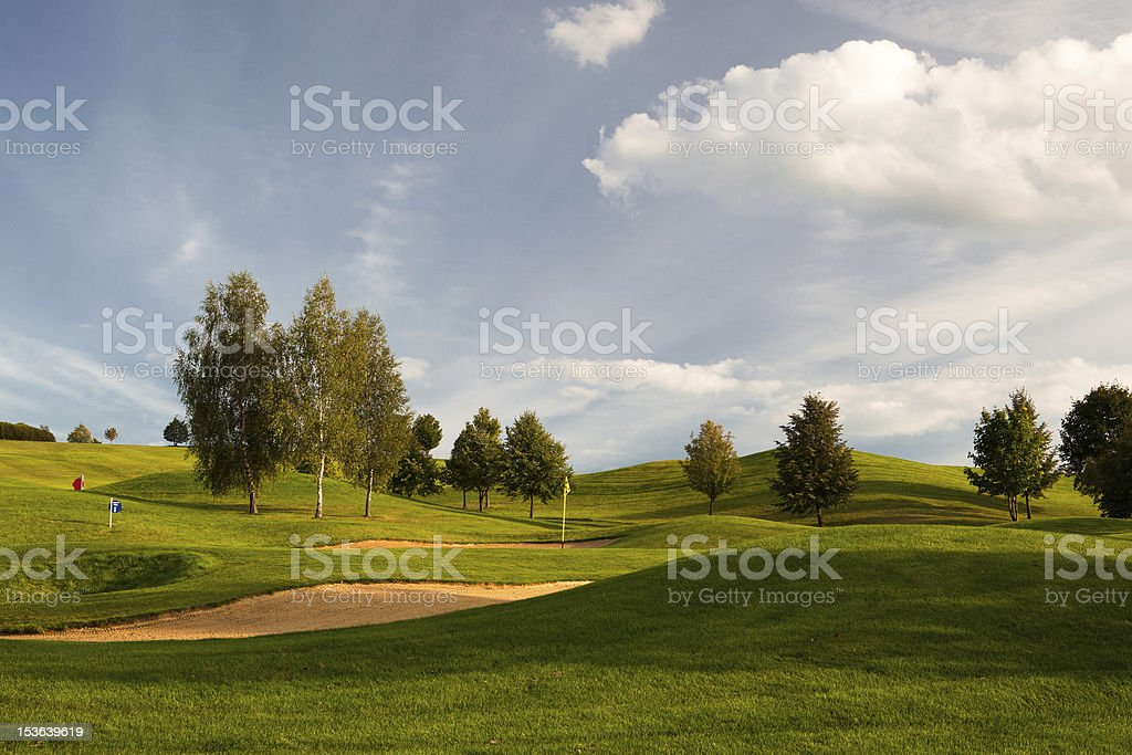 Sand bunkers on the golf course royalty-free stock photo