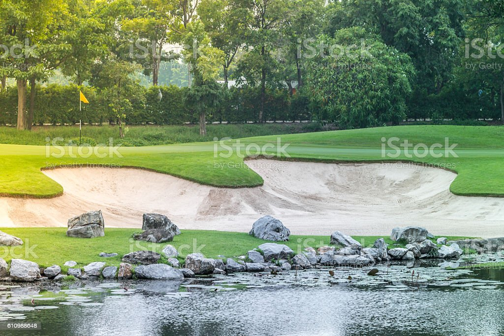 Sand bunkers on the golf course, Thailand stock photo