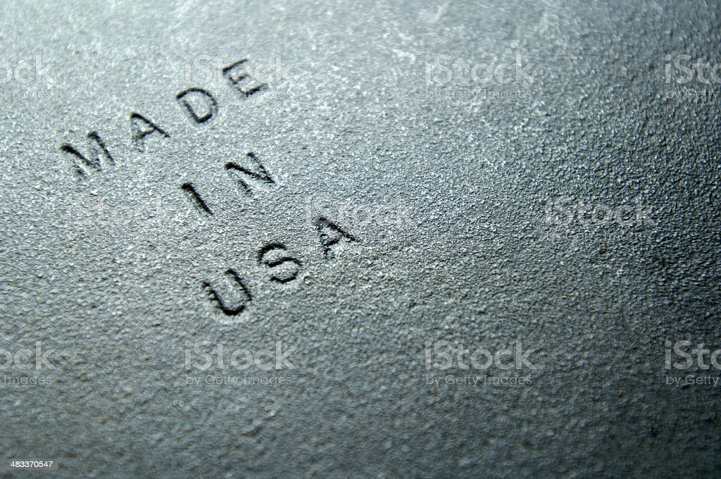 Sand Cast Iron Embossed With MADE IN USA royalty-free stock photo