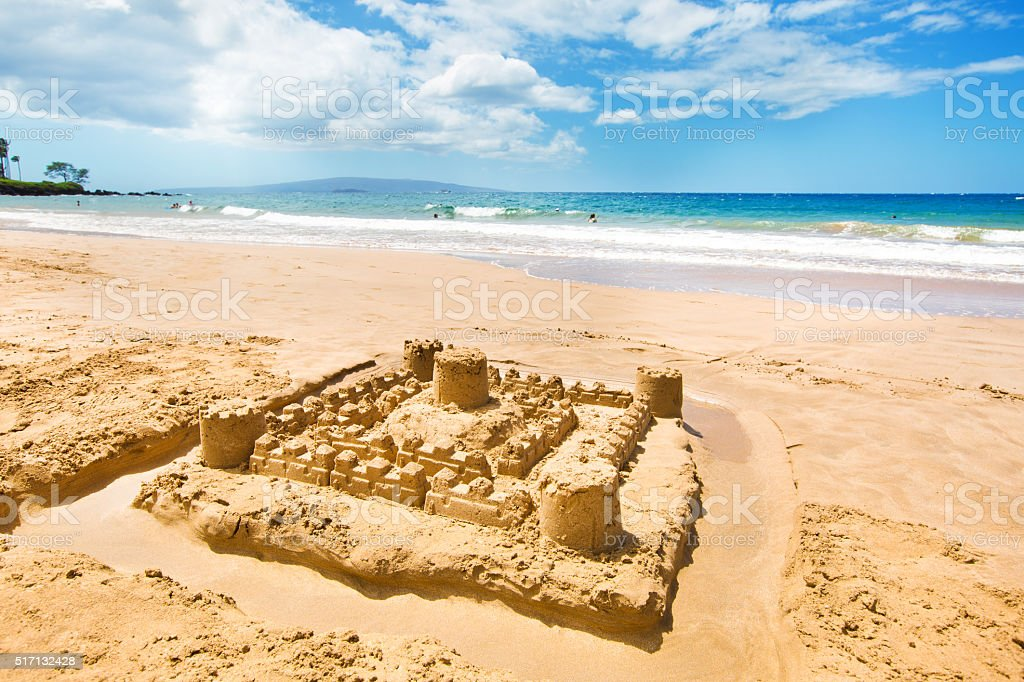 Sand Castle at Wailea Beach, Southwest Shore of Maui, Hawaii stock photo