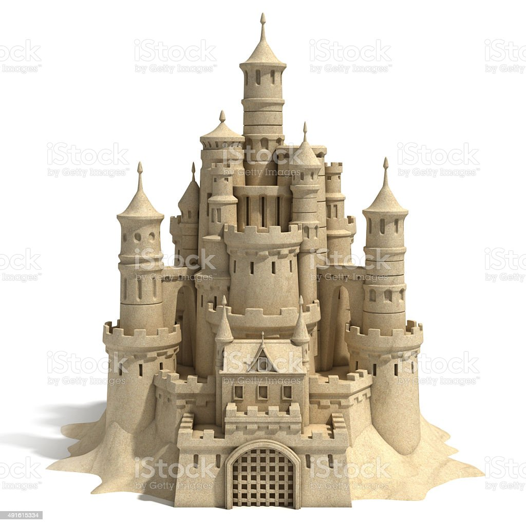 sand castle isolated on white background stock photo