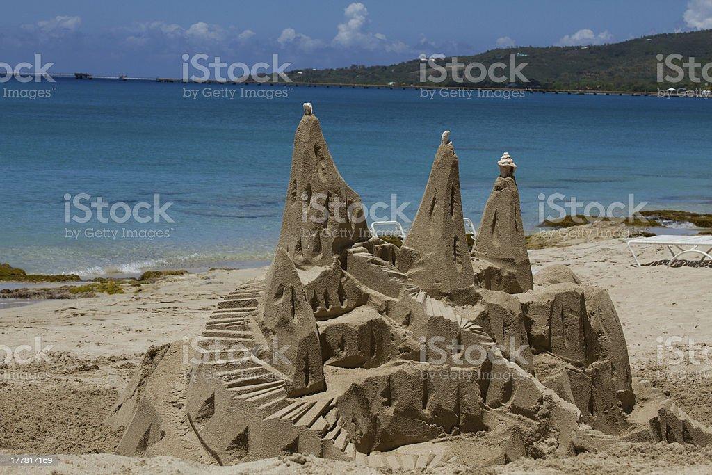 Sand Castle on beach stock photo
