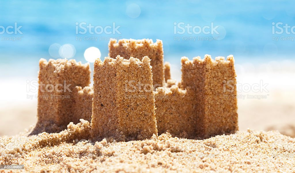 Sand Castle on Beach stock photo
