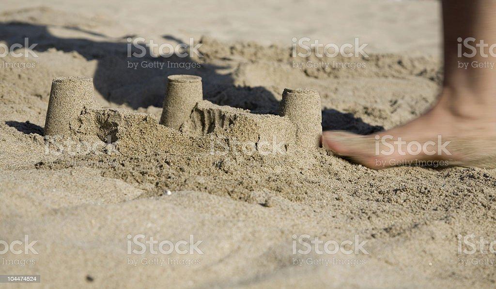 Sand Castle Smash stock photo