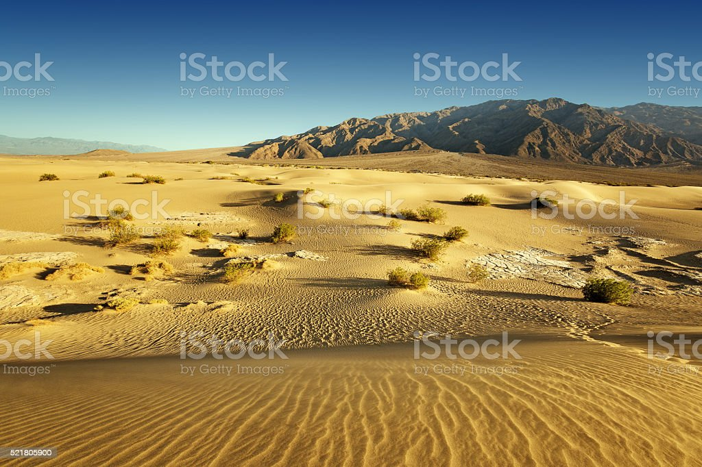 sand desert and rocky mountains in the background stock photo